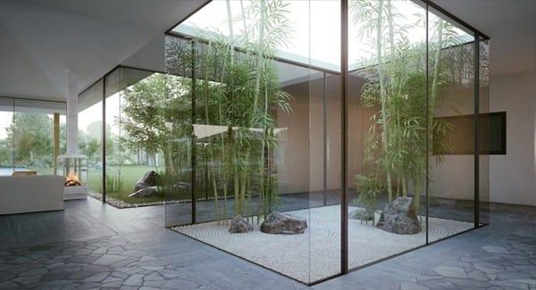 Khu vườn này cũng giống như các khu vườn khác thường thấy. Điểm khác biệt ở chỗ, khu vườn có khu vực thiền được trang trí bởi tre, đá và cát.