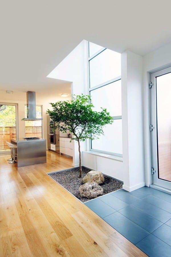 Bạn cũng có thể thiết kế một khu vườn nhỏ thế này trong nhà. Chỉ cần bố trí một khoảng không gian trống hình chữ nhật là đủ cho một khu vườn xinh xắn rồi.