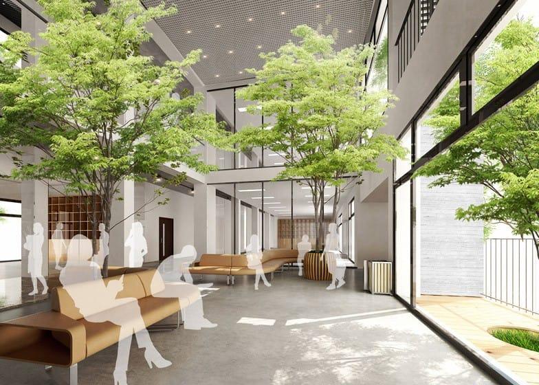 Cây xanh được đưa vào bên trong các không gian chung