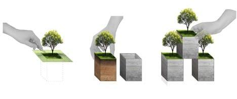 Ý tưởng khối tòa nhà đặt chồng lên nhau được hình tượng từ bãi cỏ có cây xanh và khối đất đi kèm