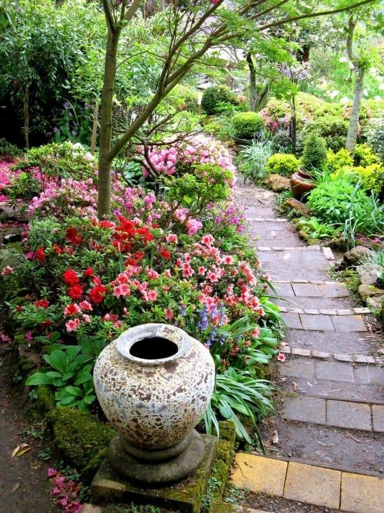 Con đường ngập tràn sắc hoa đủ màu hẳn sẽ khiến khu vườn trở nên bừng sáng.