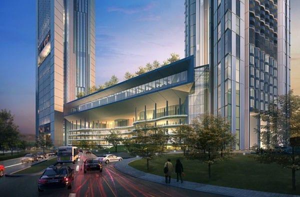 Hai tòa tháp được liên kết bằng khối đế tòa nhà 7 tầng ở giữa.