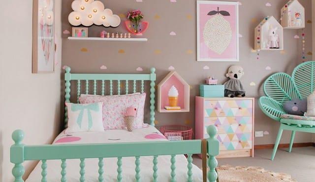 14. Các màu patel sẽ rất phù hợp cho công chúa nhỏ nhà bạn. Kết hợp thật nhiều màu sắc khác nhau cho thêm phần sinh động bạn nhé.