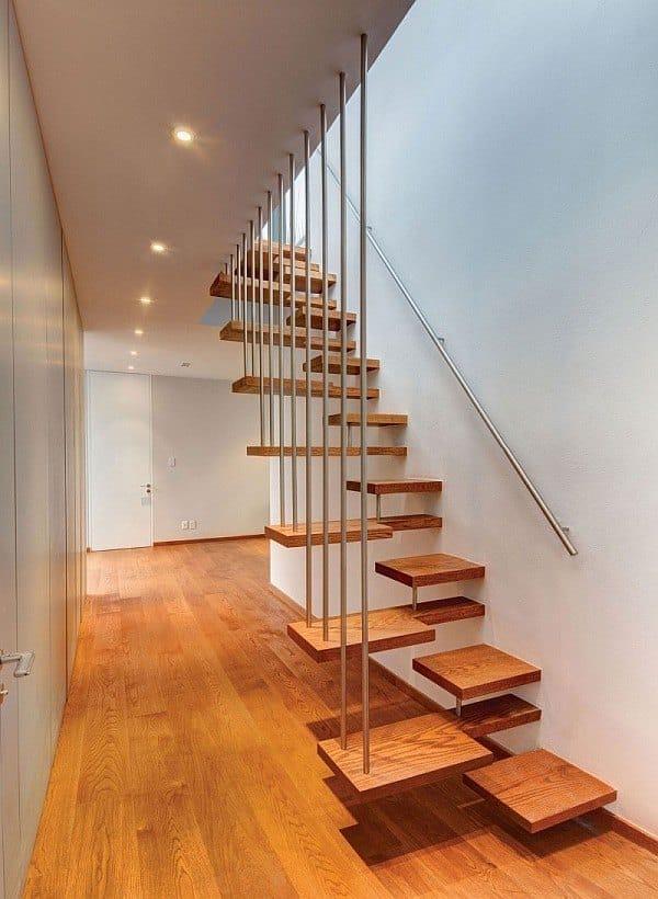Cầu thang không tay vịn - kiểu cầu thang đẹp xuất sắc cho nhà hiện đại - Ảnh 8.