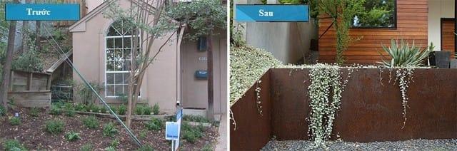 Thay vì để trống khoảng không gian này, KTS đã tạo thêm một bức tường để có thể trồng được các loại cây khác nhau.