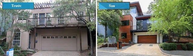 Mặt tiền của ngôi nhà đã được cải thiện với một lối vào hấp dẫn hơn. Rõ ràng, có một sự khác biệt rất lớn từ bên ngoài ngôi nhà. Nhìn vào các chi tiết bằng gỗ và các màu sắc mới được thêm vào mang lại một luồng khí ấm áp hơn.