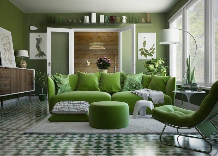 Kết quả hình ảnh cho phòng khách màu xanh rêu