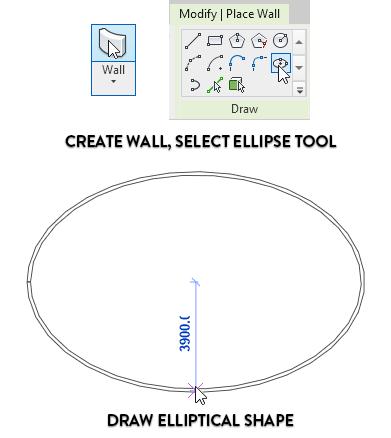 Chọn công cụ vẽ tường, chọn kiểu vẽ hình ellip - Vẽ tường theo hình ellip.