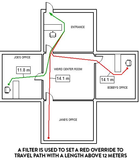 Tạo bộ lọc để tô màu đỏ cho các đường thoát hiểm dài hơn 12m