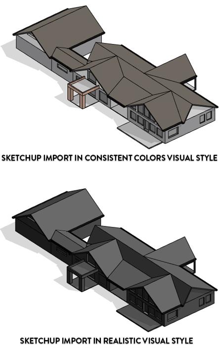 Đối tượng SketchUp được nhập vào ở 2 kiểu hiển thị Consistent và Reallistic